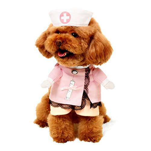 SELMAI Small Pet Dog Cat Nurse Costume with Hat Cosplay Puppy Coat Ribbon Bow Lace Trim All Seasons Size M -