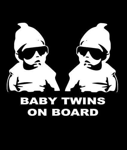 Yilooom Baby Twins On Board Baby Carlos Lustiger Vinyl Aufkleber Autos Lastwagen Vans Wände Laptop 17 8 X 14 Cm Weiß Auto