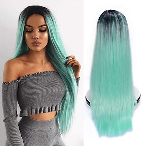 WIGER Ombre Wig 2 Tones Dark Roots to Mint Green Long Straight Colorful Hair Synthetic Wigs Middle Part Natural Looking Heat Resistant Party Cosplay Full Wigs for Women Girls -