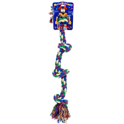Dog Life 4-Knot Rope Dog Toy, Multi-Color – Large, 29 Inch, My Pet Supplies