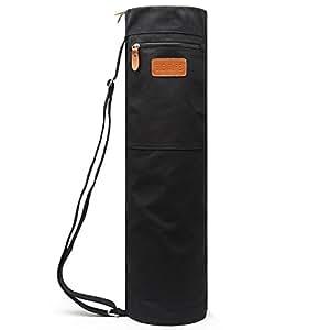 (Black) - Elenture Full-Zip Exercise Yoga Mat Carry Bag with Multi-Functional Storage Pockets