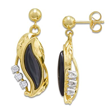 9ebcb31b1 Amazon.com: Black Coral Paradise Earrings with Diamonds in 14K Yellow Gold:  Dangle Earrings: Jewelry
