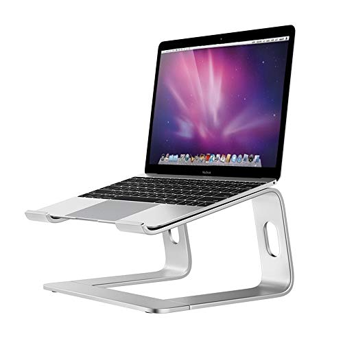 - Laptop Stand Portable Aluminum Tray Desktop Notebook Ventilated Labtop Holder Adjustable Ergonomic Mount Cooling Laptopo Anti-Slip Riser for MacBook Pro Air Computer Tablet 10 to 17 inch -Silver