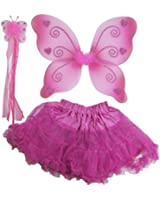 Pink Sparkle Butterfly Heart Wing Set 3pc