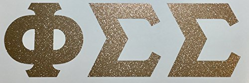 Phi Sigma Sigma Sorority Gold Glitter Letter Sticker Decal Greek 2 Inches Tall for Window Laptop Computer Car Phi Sig