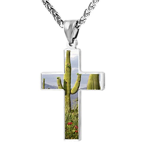 Gjghsj2 Cross Necklace Pendant Religious Jewelry High Cactus For Men Wome -