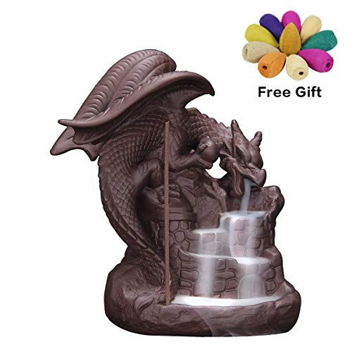 OTOFY Handmade Ceramic Incense Holder, Backflow Incense Burner Figurine Incense Cone Holders Home Decor Gift Decorations Statue Ornaments (Fly Dragon)