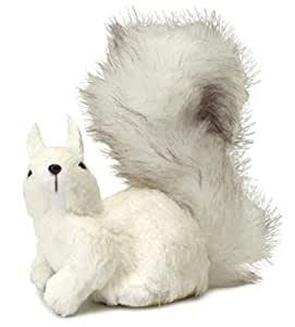 "8"" Snowy Winter White Left Facing Fluffy Tail Sisal Squirrel Christmas Table Top Decoration"