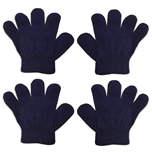 2 Pair Pack Infant to Toddler Baby Gloves Stretchy Knit Warm Winter (Ages 0-3) (2 Navy) (Gloves 1 Magic)