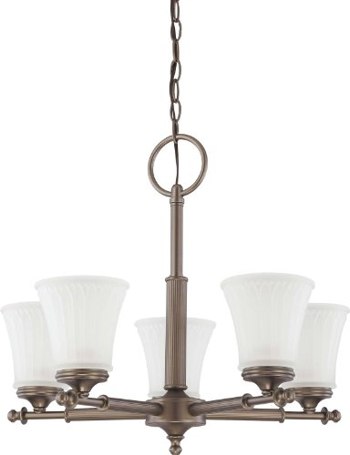 Nuvo Lighting 60/4015 Five Light Teller Chandelier with Frosted Etched Glass, Aged Pewter