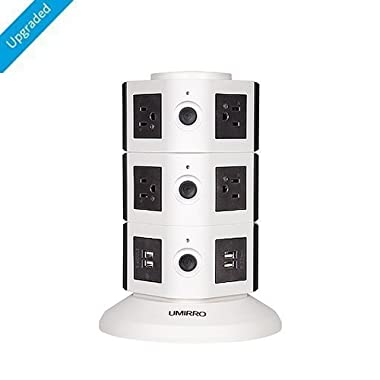 Umirro 10-Outlet Power Strip with 4 USB Charging Ports – Pearl White …