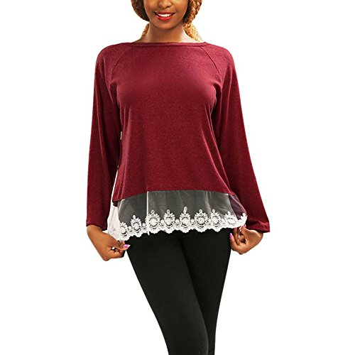 Camisetas de Mujer, FAMILIZO Moda Mujeres Cordón Suelto manga larga Tops Blusa Camiseta Casual Camisetas Women's Tops Rojo