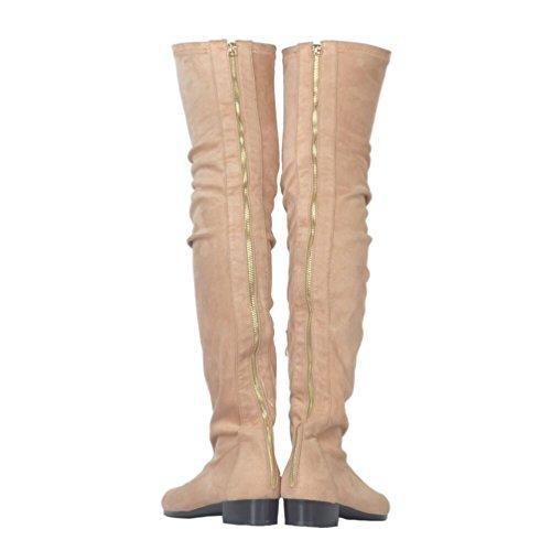 Kolnoo Womens BFCM Fashion Trend Thigh High Flat Slouchy Shaft Low Heel Boots Brown r4zFxSNnF8
