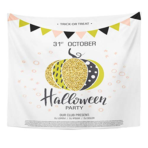 Semtomn Tapestry Happy Halloween to Party Cute Glamorous Sparkling Pumpkin Ads Home Decor Wall Hanging for Living Room Bedroom Dorm 50x60 Inches ()