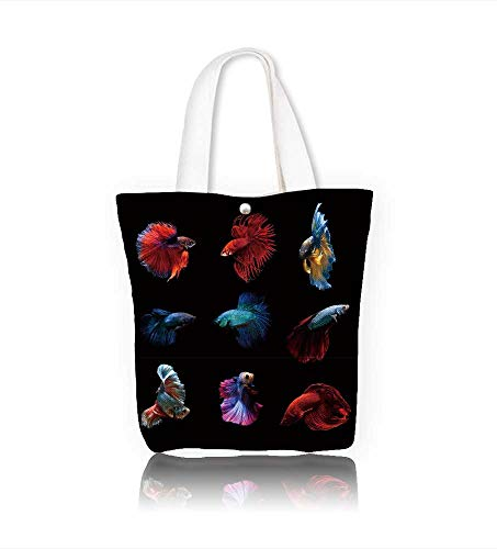 Canvas Shoulder Hand Bag betta fish siamese fighting fish betta splendens aquarium moment of siamese fighting fish women Large Work tote Bag Shoulder Travel Totes Beach W22xH15.7xD7 INCH