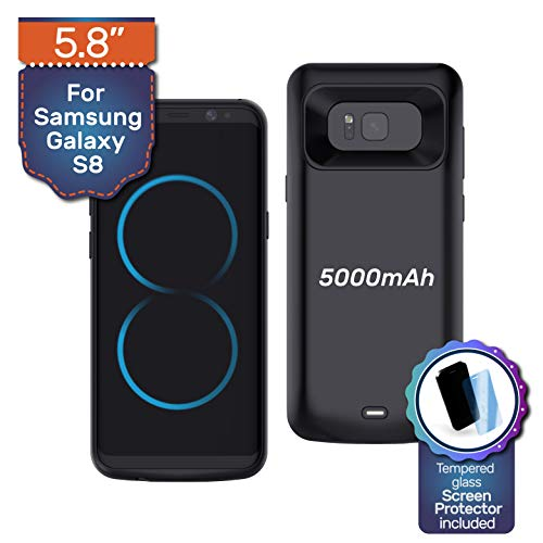 Never Run Out Samsung Galaxy S8 Case Charger Battery Pack Wireless Charging Protective Case 5000mAh Power Bank Case Tempered Glass Screen Protector