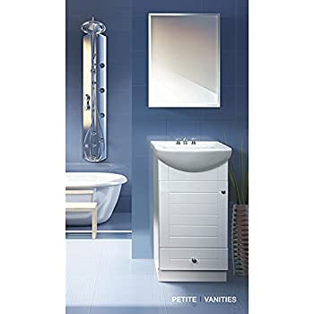 Petite 18 inch wood white bathroom vanity for 18 inch white bathroom vanity