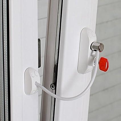 BSL Fenstersicherung - verschließt Fenster kindersicher, sichere Belüftung möglich (weiß)