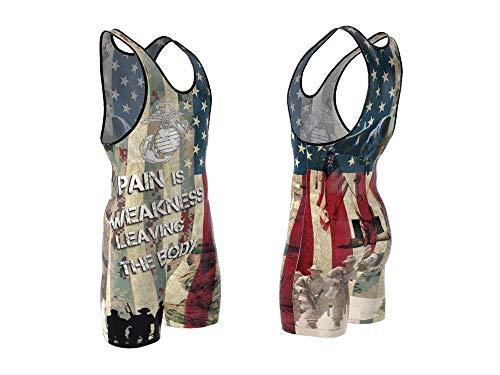4-Time All American Marines Sublimated Wrestling Singlet size 2XS ()