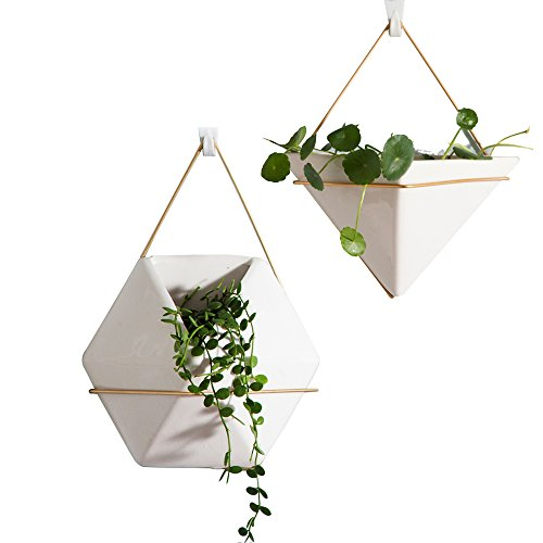 Wall Decor Planters 2 Set White Ceramic Hanging Geometric Wall Decor Container - Great For Succulent Plants, Air Plant, Faux Plants,White by Purzest