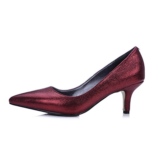 Minivog Mujeres Kitten Zapatos De Tacón Con Bomba De Color Rojo