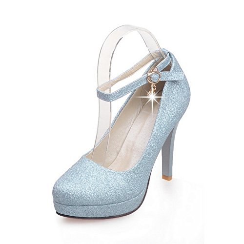 Metal Pumps Sequin Blue Womens Cuff Buckles Sequins Rhinestones Ankle Shoes BalaMasa Studded 5I4wqUqz