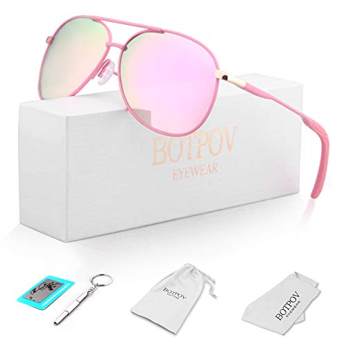 Polarized Aviator Sunglasses for Men and Women-100 UV Protection Mirrored Lens -Metal Frame with Spring Hinges ()