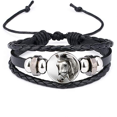 Giwotu Womens Horses Photo Handmade Glass Cabochon Braided Leather Charm Bracelets Bead Weave Punk Rock Male Bangle Gift 12011608 ()
