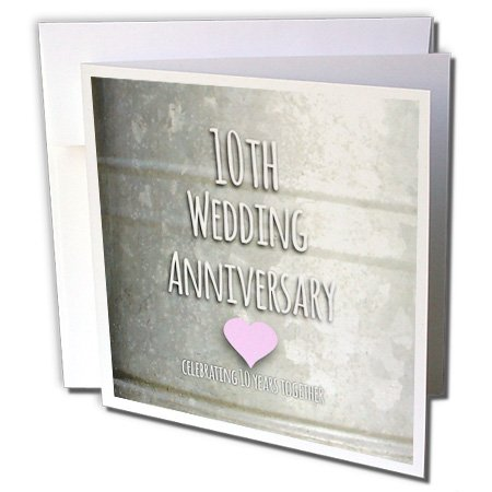 3dRose 8 x 8 x 0.25 Inches 10Th Wedding Anniversary Gift, Tin Celebrating 10 Years Together, Tenth Anniversaries Greeting Cards, Set of 12 (gc_154441_2)