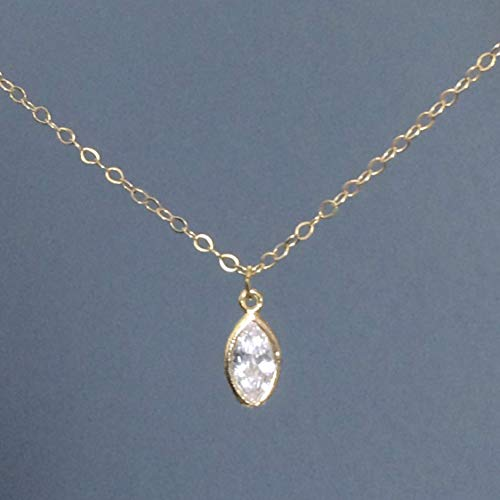 WAS $39.00 - RM JEWELRY STUDIO - dainty GOLD FILLED chain; bezel, cz diamond marquise necklace, simple, small, cubic zirconia