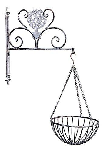 Wall Colonial Bracket (Bundle of Mayrich Hanging Metal Basket Planter and Fleur-de-Lis Wall Bracket)