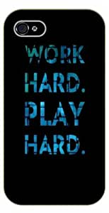 iPhone 4 / 4s Work hard, play hard - Black plastic case / Inspirational and motivational life quotes / SURELOCK AUTHENTIC