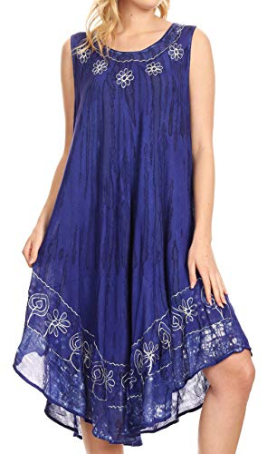 Sakkas 15009 - Alexis Embroidered Long Sleeveless Floral Caftan Dress/Cover Up - Royal Blue - OS (Sleeveless Muumuu)