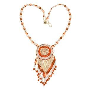 Naranja Elegante Y Collar De Perlas Blanco Translúcido Para Las Mujeres