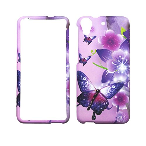 (2D Pink Flower Butterfly For HTC Desire 626 626s Case Cover Hard Phone Case Snap on Shield Protector Rubberized Touch Faceplate Cover)