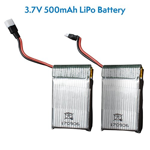Halo and UFO Drone Batteries - 2 Pack 3.7v 500mAh LiPo Drone Battery for Force1 UFO 3000 and Halo Quadcopter Drones