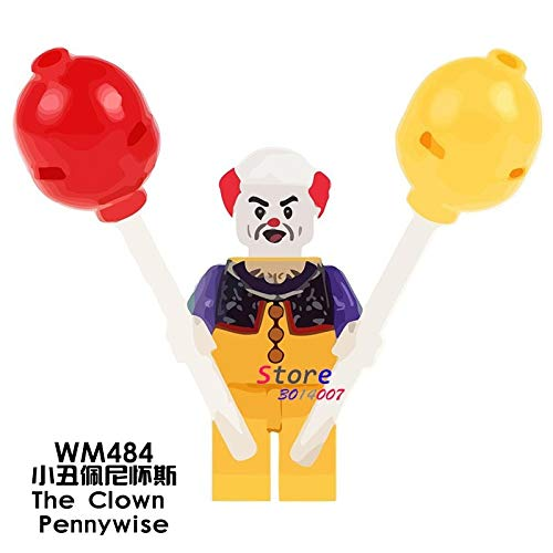 50pcs Witch The Mask Magical Movie TV Cahracter Halloween Pennywise Joker Rick Morty Building Block Bricks for Kits Children Toy -