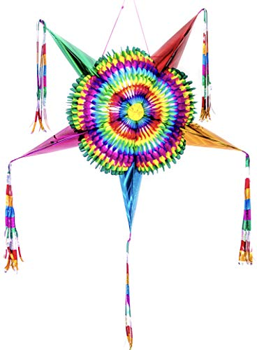 Mexican Traditional Cardboard Star Pinata, Colorful Ideal for