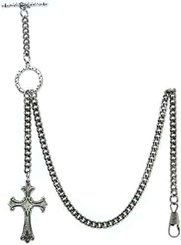 Albert Chain Pocket Watch Curb Link Chain Silver Color - 2 Ways Usage on Vests & Trousers or Jeans with Religious Cross Design Fob T Bar ACT114