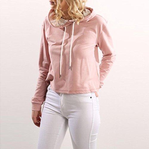 Tefamore Mujeres 2017 Casual & Moda camisa casual Moda suelta de manga larga chaqueta Sudaderas con capucha Rosado