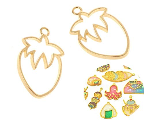 - 2pcs Gold Tone Strawberry Berry Fruit Sweet Food Metal Frame Tray Setting for Epoxy Uv Resin Polymer Clay Open Back Pendant Necklace Jewelry