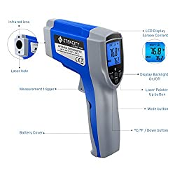 Etekcity 1022D Dual Laser Digital Infrared Thermometer Temperature Gun Non-contact -58?~1022? (-50? ~ 550?) with Adjustable Emissivity & Max Measure for Meat Refrigerator Pool Oven
