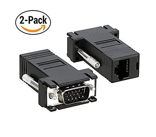 Duttek VGA Extender to CAT5 CAT6 RJ45 Cable Adapter, VGA 15 Pin Male to Rj45 Female Jack Coupler Adapter (pack of 2)