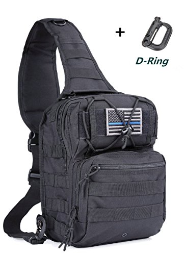 Boxuan Outdoor Tactical Shoulder Backpack(+flag patch), Military & Sport Bag Pack Daypack for Camping, Hiking, Trekking, Rover Sling,chest bag ,Multi-Size Options,Multi-color Options