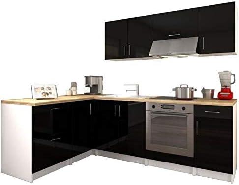 Générique City Cocina de Esquina Complete 2 M80 – Negro Lacado Brillante: Amazon.es: Hogar
