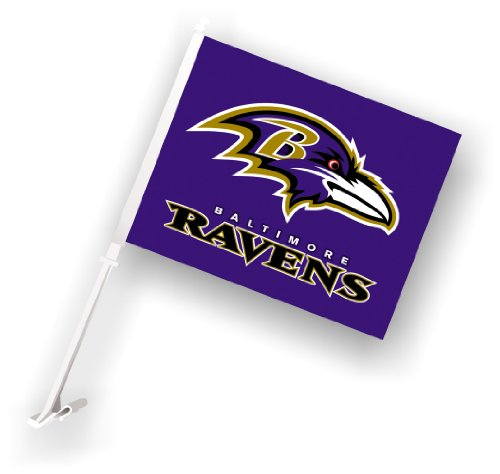 NFL Baltimore Ravens Car Flag with Wall Brackett by Fremont Die