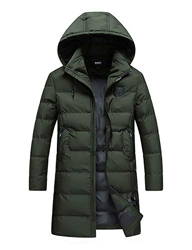 Quilted Backpacking Waterproof BESBOMIG Long Coat Jacket Hooded amp; Hiking Sleeve Insulated for Rain Green Comfy Long Breathable Men Lined fOrOE0q