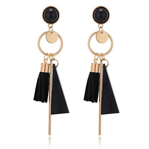 Geometric Wooden Tassel Earrings Green Black Earrings for Women Jewelry E1087 Black
