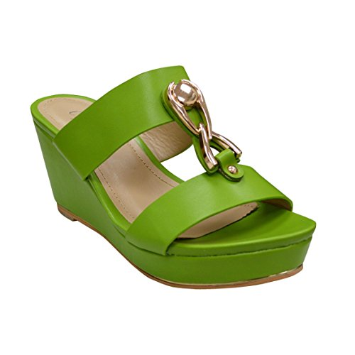 Gold Buckle On Womens Ladies Summer Sandal Strap Wedge Ciara Green New Remi Two Slip EtI8xnwq5
