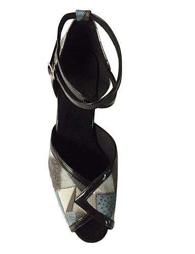 Non Personnalisables Talon Chaussures Aiguille ShangYi Noir Similicuir Black Latine danse de HgTIUq